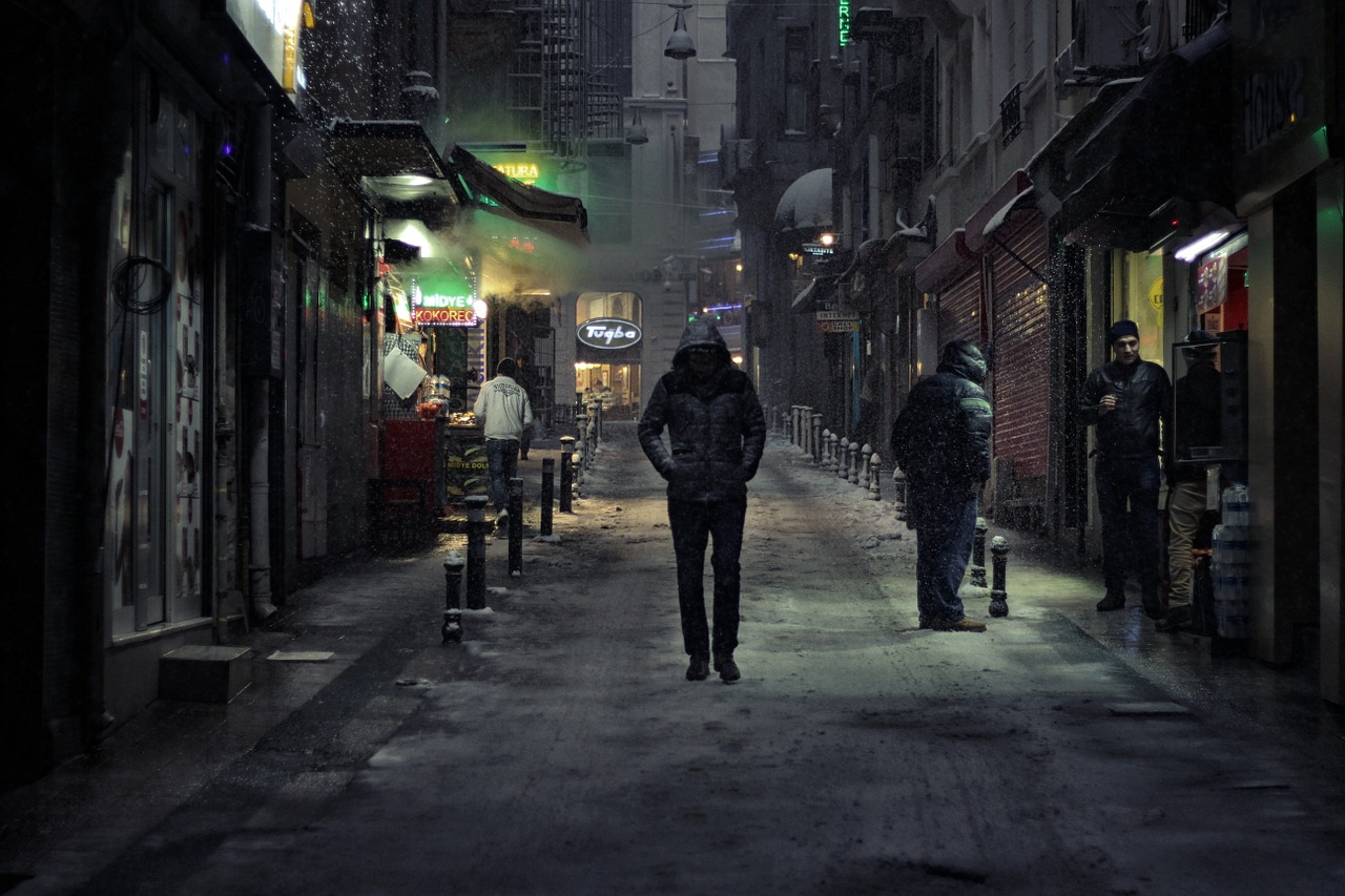 man alone on the street