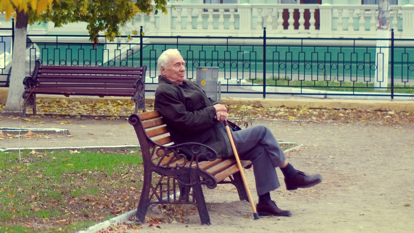 Elderly man on park bench