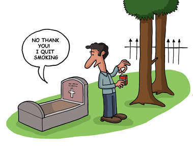 smoker at graveyard
